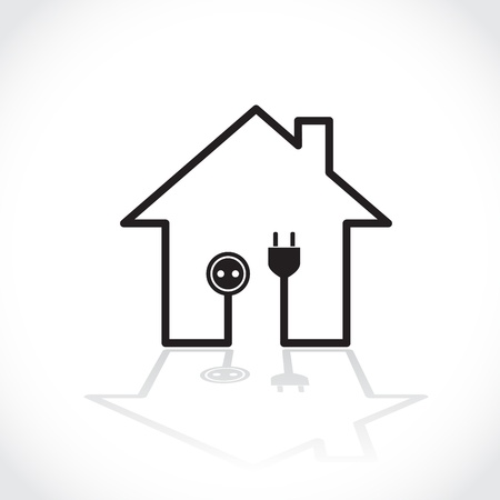 House symbol as simple electricity circuit - illustration