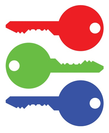 isolated keys symbolic RGB colors - illustration