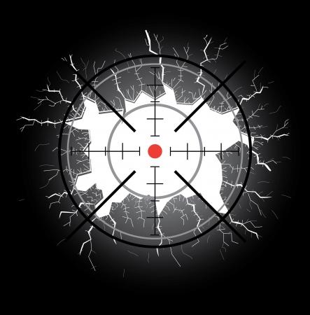 Crosshair after shooting, hole throught broken glass