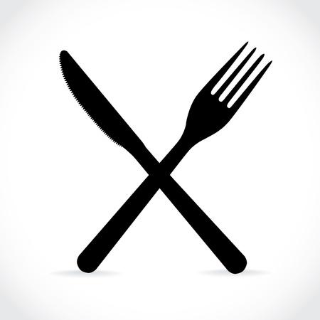 crossed fork over knife - illustration