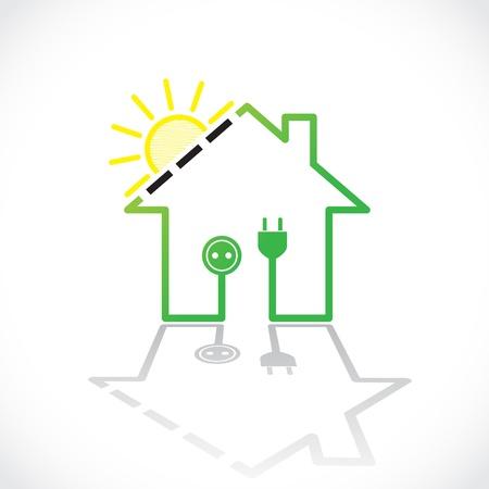Illustration pour Green house as simple solar electricity circuit - illustration - image libre de droit