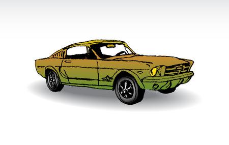 Oldtimer - ford mustang 1965 - illustration