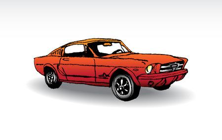 Oldtimer - red ford mustang 1965 - illustration