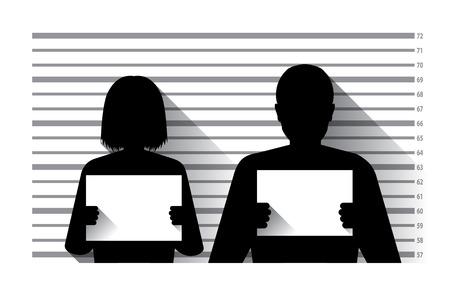 Illustration pour Police criminal record with man and woman , flat design - image libre de droit