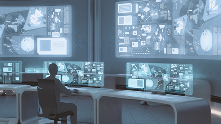Foto de 3D rendered modern, futuristic command center interior with people silhouettes - Imagen libre de derechos