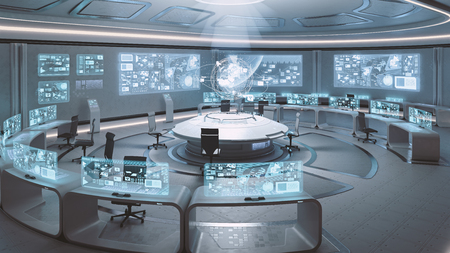 Foto de 3D rendered empty, modern, futuristic interior command center - Imagen libre de derechos