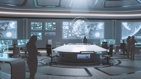 Photo for 3D rendered modern, futuristic command center interior with people silhouettes - Royalty Free Image