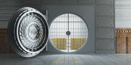 Photo pour 3d rendering of an opened huge bank vault full of gold bars front view - image libre de droit