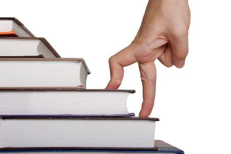 Business ocupation - finger people moving step up