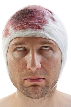 Bandage on human brain concussion blood wound head