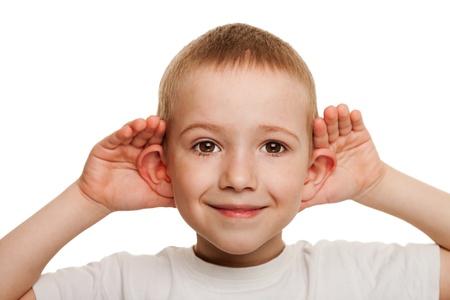 Foto für Smiling human child hand listening deaf ear gossip - Lizenzfreies Bild