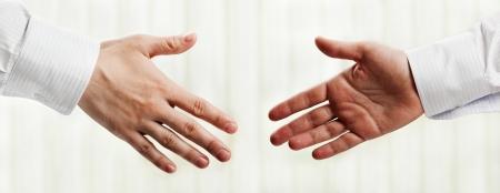 Business people hand greeting or meeting handshake