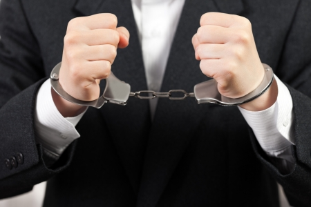 Police steel handcuffs arrests business men hands