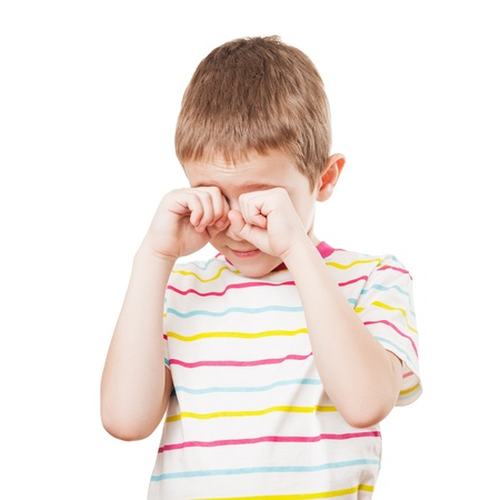 Little crying child hands hiding or covering face white isolated