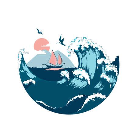 Illustration pour Junk floating on the sea waves. View of Mountain Fuji. Color vector flat cartoon illustration. Concept for Japan. - image libre de droit
