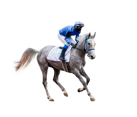 Photo pour horse jockey racing isolated on white background - image libre de droit
