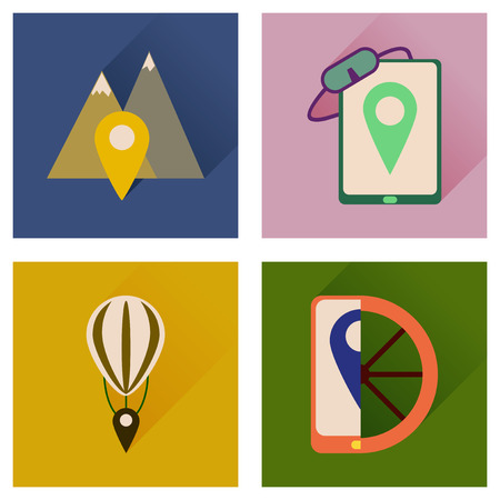 Concept of flat icons with long shadow  mobile navigation