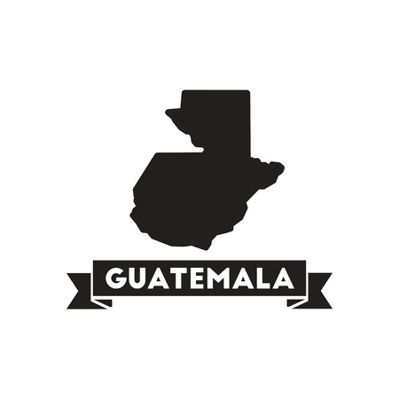Flat icon in black and  white  map Guatemala