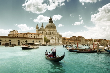 Grand Canal and Basilica Santa Maria della Salute Venice Italy and sunny day