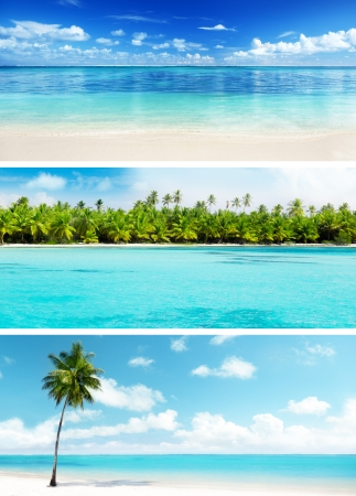 Photo for set of Caribbean beaches - Royalty Free Image