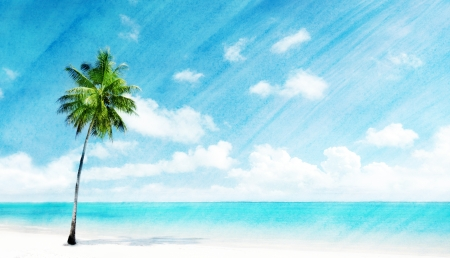 Foto de watercolor grunge image of beach - Imagen libre de derechos