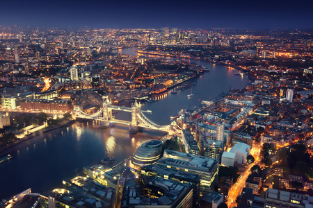 Photo for London at night with urban architectures and Tower Bridge - Royalty Free Image