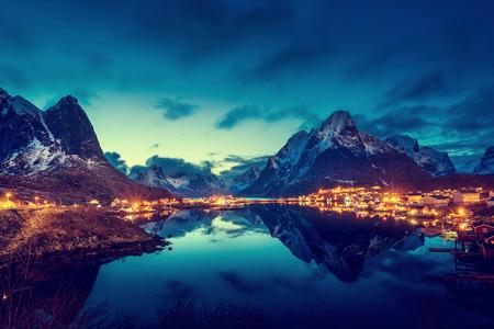 Photo for sunset  in Reine Village, Lofoten Islands, Norway - Royalty Free Image