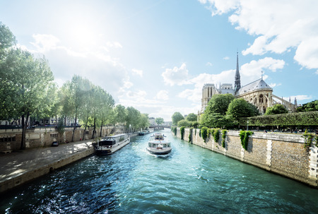 Seine and Notre Dame de Paris, Paris, France