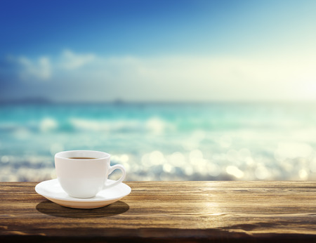 Photo for sea and cup of coffee - Royalty Free Image