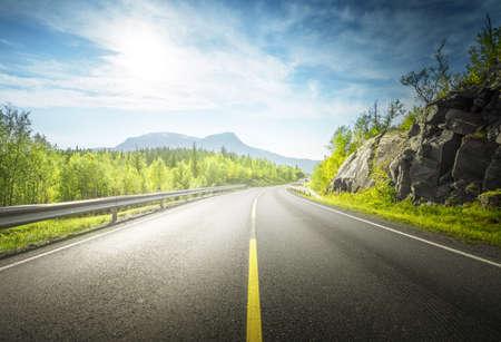 Photo pour summer road in mountain, Lofoten islands, Norway - image libre de droit