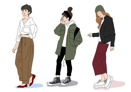 Illustration pour Hand drawn vector pretty ladies standing white background. Three stylish and casual women. - image libre de droit