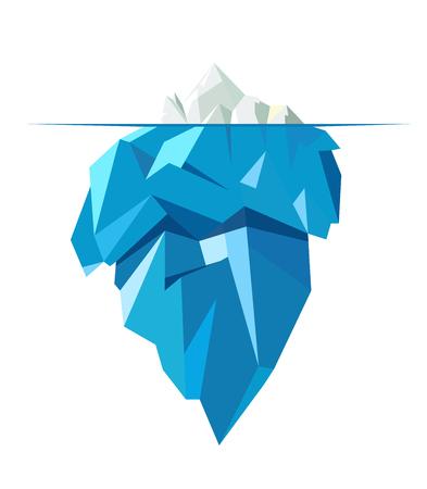 Illustration for Isolated full big iceberg, flat style illustration. - Royalty Free Image