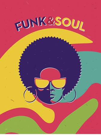Illustration for Disco party event flyer. Creative vintage poster. Vector retro style template. Black woman in sunglasses. - Royalty Free Image