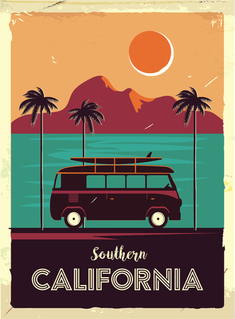 Illustration for Grunge retro metal sign with palm trees and van. Surfing in California. Vintage advertising poster. Old fashioned design. - Royalty Free Image