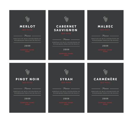 Red wine labels. Vector premium template set. Clean and modern design. Pinot Noir, Malbec, Cabernet Sauvignon, Merlot, Syrah, Carmenere.