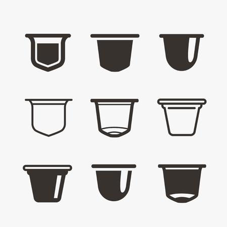 Photo pour Set of the coffee capsules. Vector flat icons. - image libre de droit