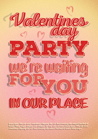 Illustration for Vector poster invite to Valentines Day party with a hearts and beautiful texture on a letters. Design in a light pink-orange colors and patterns on background. - Royalty Free Image