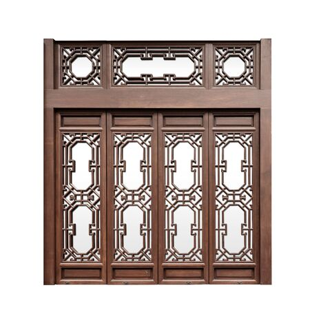 Foto de Chinese traditional style wooden window on isolated white background - Imagen libre de derechos