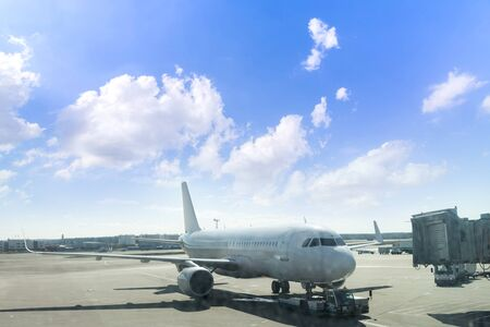 Photo for Airplane are parking in line on the runway before taking off at Dubai International Airport - Royalty Free Image