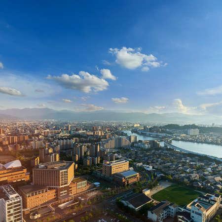 Photo pour View skyline of fukuoka downtown city cityscape with blue sky, Fukuoka, Japan - image libre de droit