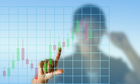 Business woman with candlestick chart