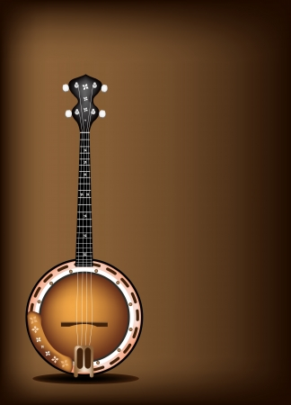 Music Instrument, An Illustration of A Single Five String Banjo on Beautiful Vintage Dark Brown Background with Copy Space for Text Decorated