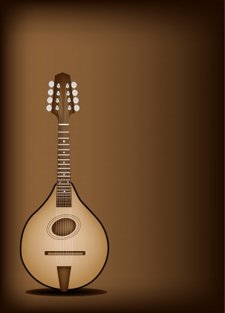 Music Instrument, An Illustration of A Beautiful Antique Bluegrass Mandolin on Beautiful Vintage Dark Brown Background with Copy Space for Text Decorated