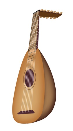 Music Instrument, An Illustration of A Beautiful Antique Bluegrass Mandolin on White Background