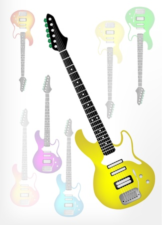 Music Instrument, An Illustration of Yellow Electric Guitar