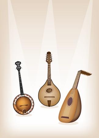Music Instrument, An Illustration of A Beautiful Antique Musical Instrument Strings, Bluegrass Mandolin, Banjo and Lute on Beautiful Vintage Brown Stage Background with Copy Space for Text Decorated
