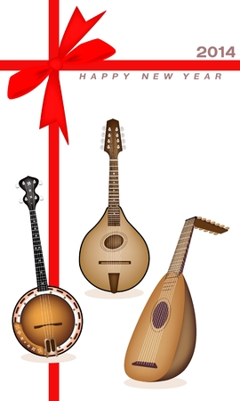 An Illustration of A Beautiful Antique Musical Instrument Strings, Bluegrass Mandolin, Banjo and Lute on 2014 New Year Card