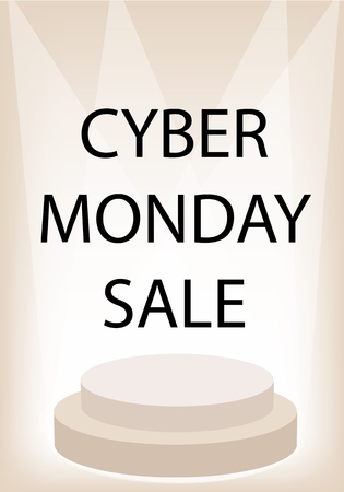 Cyber Monday Sale Promotion on Brown Retro Stage, Sign for Start Christmas Shopping Season and Biggest Discount Promotion in A Year.