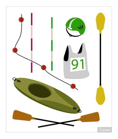 Illustration Collection of Accessory and Equipment for Canoe or Kayak Sport Isolated on White Background.