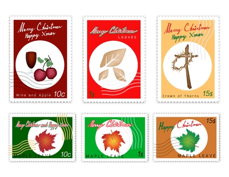 Merry Xmas, Post Stamps Set of Hand Drawn Sketch of Red Wind, Apple, Maple Leaves, Dried Leaves, Wooden Cross and Crown of Thorns Sign for Christmas Seasons.